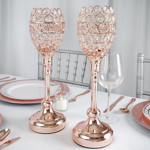 "2 Pack | 14"" Tall Rose Gold Crystal Acrylic Goblet Votive Candle Holder"