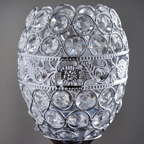 "SET of 2 Crystal Beaded Candle Holder Goblet Votive Tealight Wedding Centerpiece  14"" Tall"
