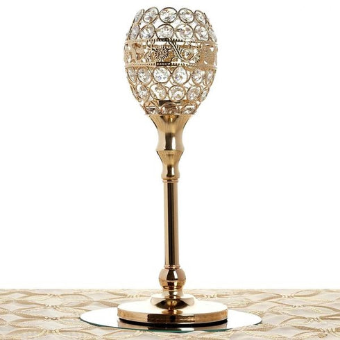 "14"" Tall Crystal Beaded Candle Holder Goblet Votive Tealight Chandelier - Gold - BUY ONE GET ONE FREE"