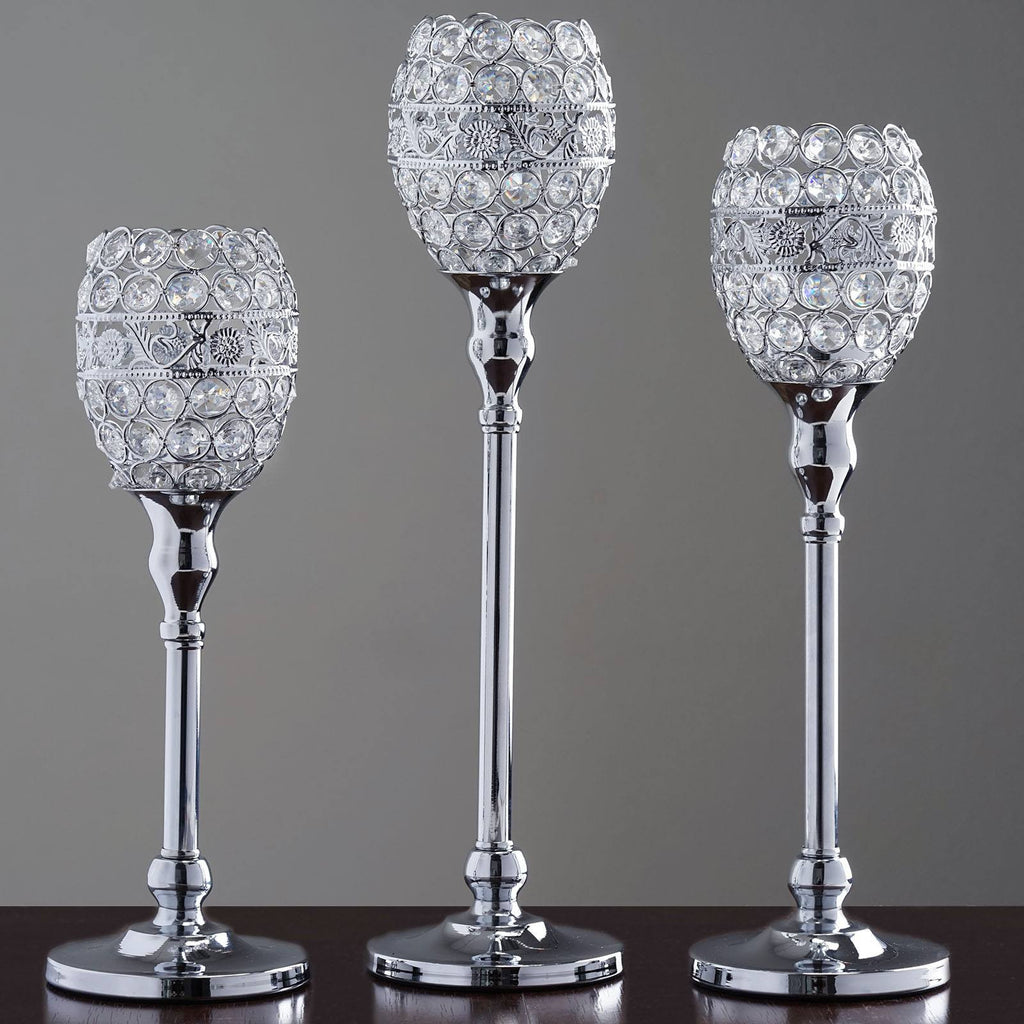 16 tall crystal beaded candle holder goblet votive for Cheap tall candlestick holders