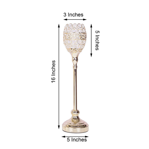 "Pack of 2 - 16"" Tall Gold Crystal Acrylic Goblet Votive Candle Holder Set"