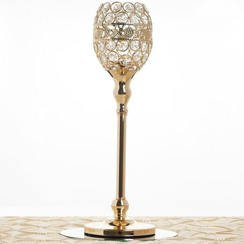 "16"" Tall Crystal Beaded Candle Holder Goblet Votive Tealight Chandelier - Gold - BUY ONE GET ONE FREE"