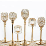 "16"" Tall Crystal Beaded Candle Holder Goblet Votive Tealight Wedding Chandelier Centerpiece - Gold - BUY ONE GET ONE FREE!!"