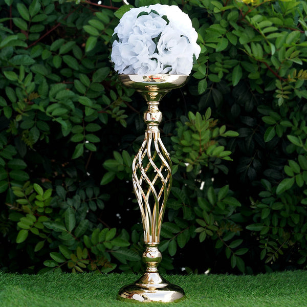 "Wedding Flower Vases Wholesale: 19.5"" Tall Gold Metal Wedding Flower Decor Candle Holder"
