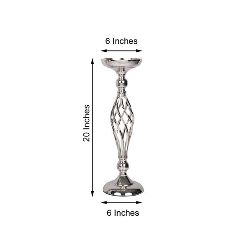 "Set of 2 - 20"" Silver Reversible Votive Candle Holder Set Flower Ball Stand"