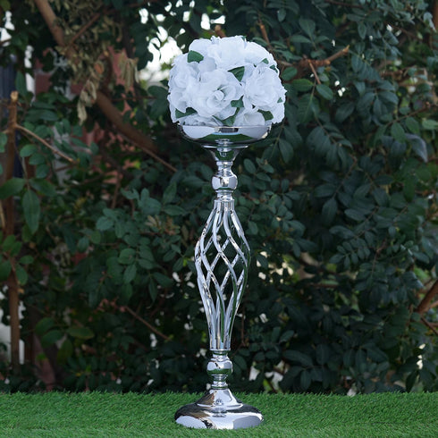 "19.5"" Tall Metal Flower Decor Candle Holder Vase - Buy 1 Get 1 Free - Silver"