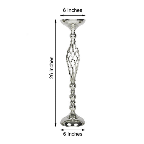 "Set of 2 - 26"" Silver Reversible Pillar Candle Holder Set Flower Ball Stand Metallic Vases Wholesale"