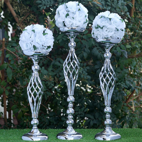 "25.5"" Tall Metal Flower Decor Candle Holder Vase - Buy 1 Get 1 Free - Silver"