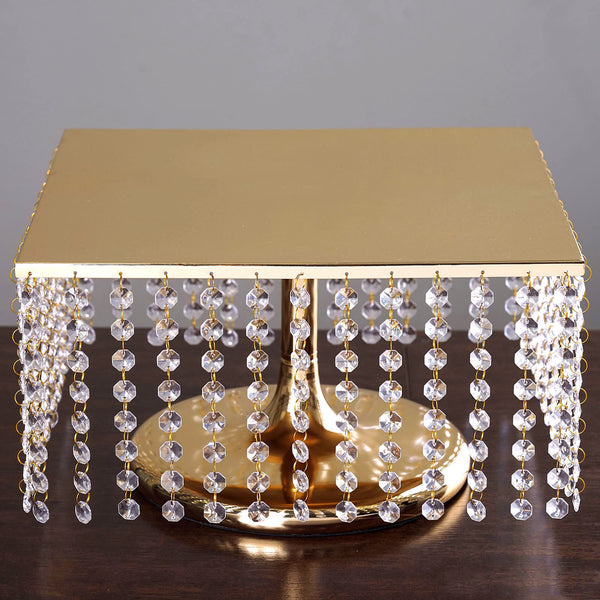 "8"" Tall Gold Square Metal Cake Stand - Chandelier Cake Stand With Acrylic Crystal Chains"