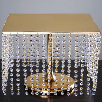 "16"" Bejeweled Square Crystal Pendants Stainless Steel Chandelier Cake Stand - Gold"