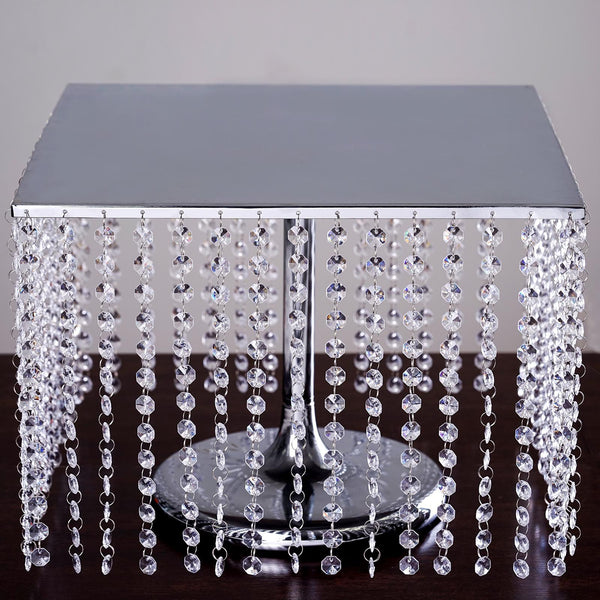 "12"" Tall Silver Square Metal Cake Stand - Chandelier Cake Stand With 60 Acrylic Crystal Chains"