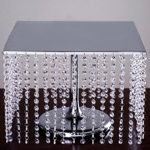 "16"" Bejeweled Silver Square Crystal Pendants Stainless Steel Chandelier Wedding Riser Cake Stand"