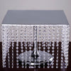 "16"" Bejeweled Square Crystal Pendants Stainless Steel Chandelier Riser Cake Stand - Silver"