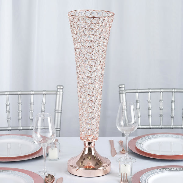 2 Pack 2 Ft Tall Rose Gold Beaded Crystals Trumpet Vase