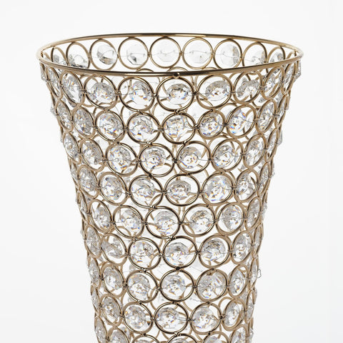 2 Pack 23 Tall Gold Beaded Crystals Trumpet Vase Centerpiece