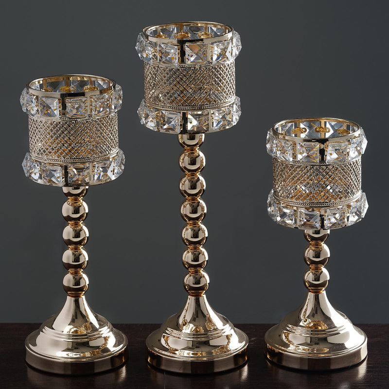 Set of 3 | Gold Crystal Acrylic Goblet Votive Candle Holder Set - 24 Large Crystal Beads
