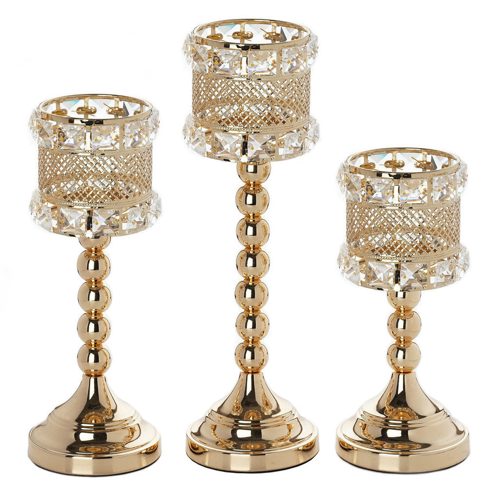 Crystal beaded gold votive candle holder wedding for Picture frame candle centerpiece