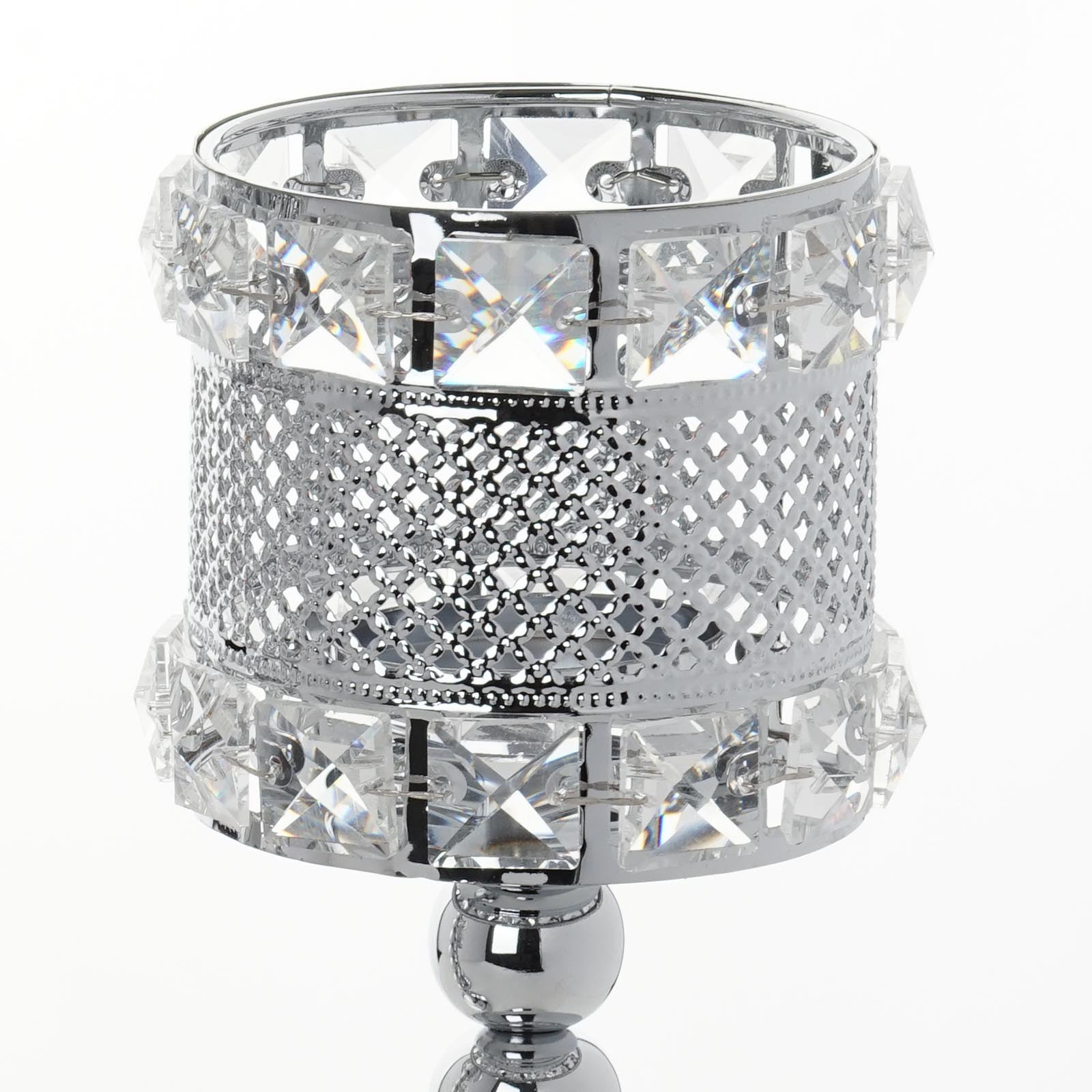 3 Pack Silver Crystal Beaded Votive Candle Holder Centerpieces ...