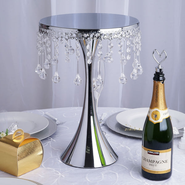 "17"" Tall Silver Metallic Trumpet Cake Riser Stand - Round Cake Stand With 30 Acrylic Crystal Chains"
