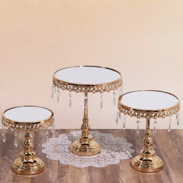Set of round mirror top gold cup cake riser centerpiece