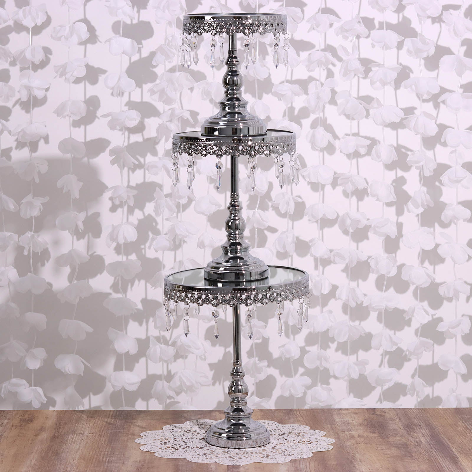 Silver Round Metallic Modern Cup Cake Riser Stand with Hanging ...