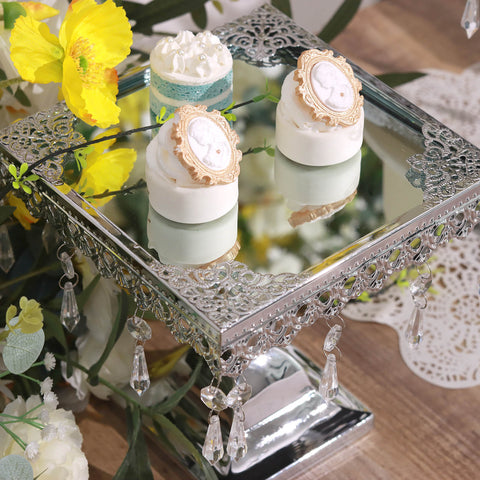 Silver Square Metallic Modern Cup Cake Riser Stand With Crystal - Cupcake chandelier stand crystals