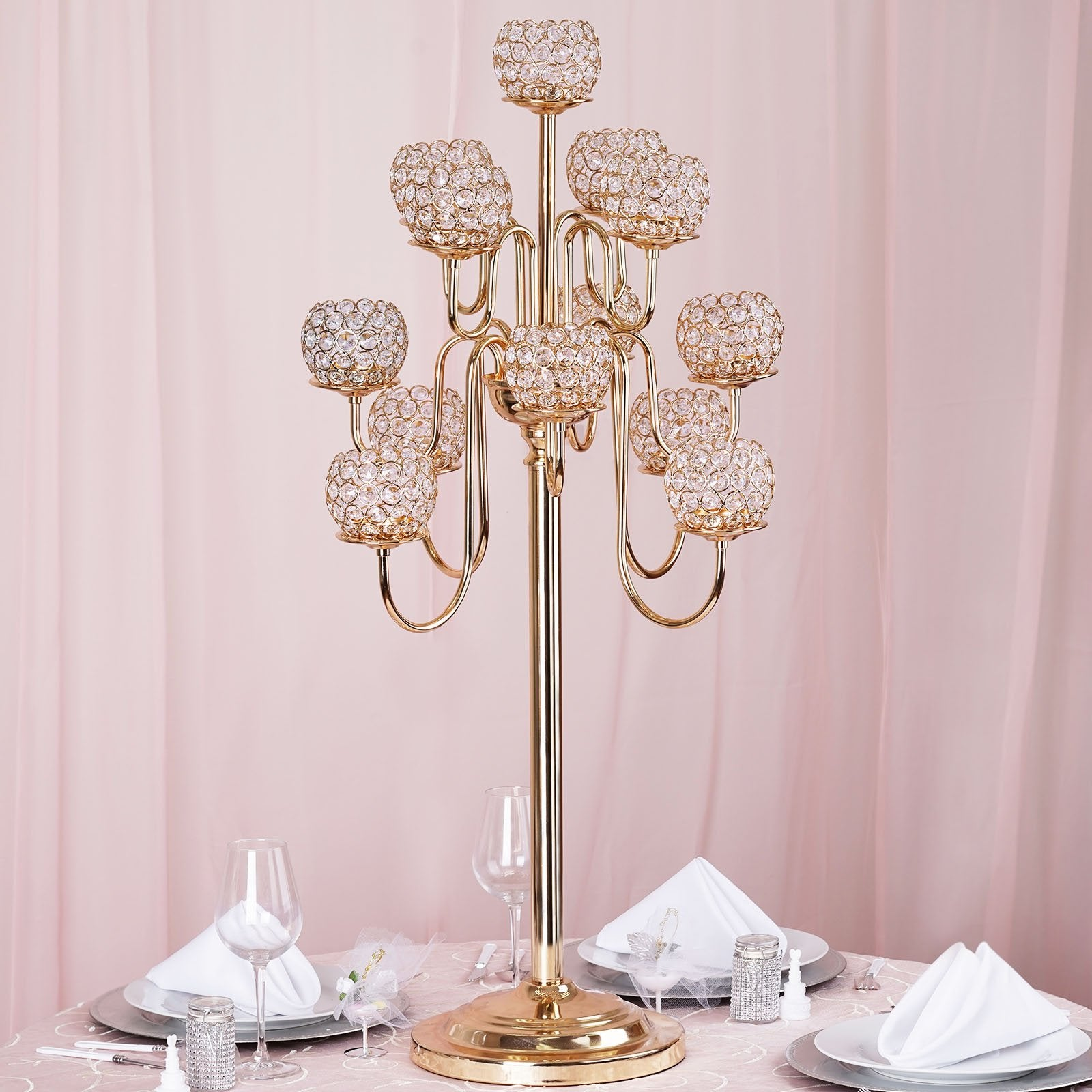 "40"" Crystal Beaded 13 Arm Candelabra Centerpiece Gold"