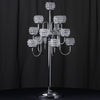 40 inch Tall 13 Arm Silver Crystal Beaded Candelabra Candle Holders