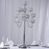 "40"" Crystal Beaded 13 Arm Candelabra Centerpiece - Silver"