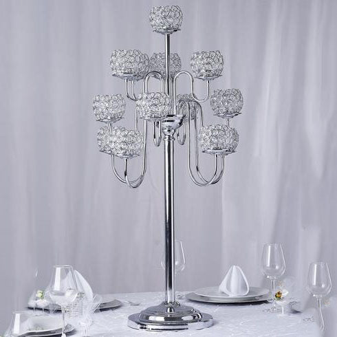 3.5 Ft Tall 13 Arm Silver Crystal Beaded Candelabra Candle Holders