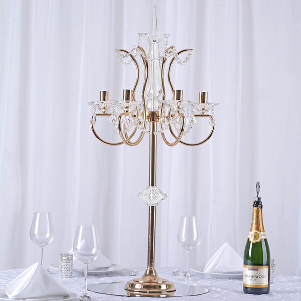 "40"" Tall 6 Arm Gold Metal Acrylic Candelabra Candle Holders"