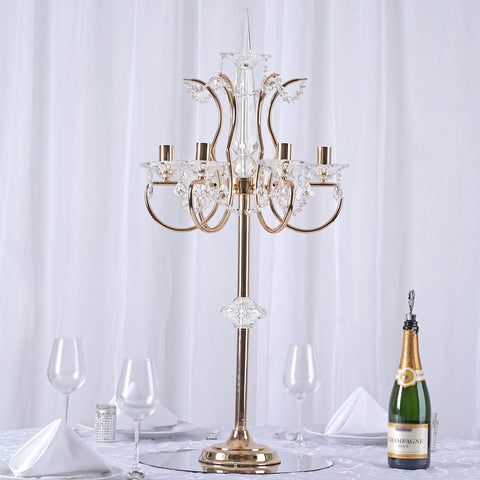 40 gold metal acrylic baroque candelabra efavormart 40 tall 6 arm gold metal acrylic candelabra baroque taper votive candle holder tabletop centerpiece aloadofball Choice Image