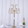 "40"" Tall 6 Arm Gold Metal Acrylic Candelabra Centerpiece"