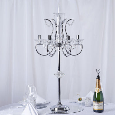 "40"" Tall 6 Arm Silver Metal Acrylic Candelabra Centerpiece"