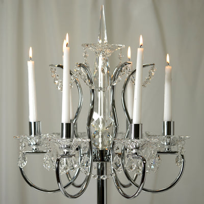 "40"" Silver Metal Acrylic Baroque Candelabra - Detail White Candles"