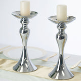 "2 Pack | 12"" Tall Silver Floral Stand Pillar Candle Holder"