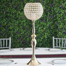 2.5 Ft Gold Acrylic Crystal Goblet Candle Holder Flower Ball Stand