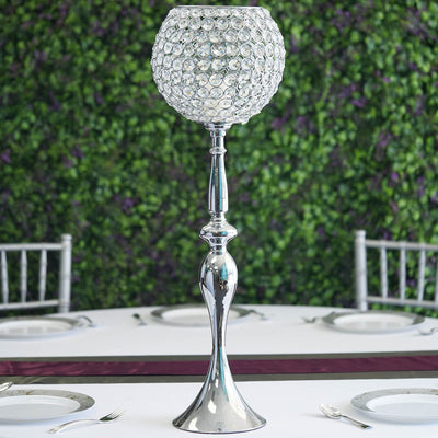 2.5 Ft Silver Acrylic Crystal Goblet Candle Holder Flower Ball Stand