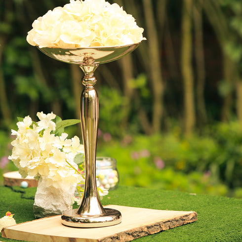 "17"" Flared Top Gold Metal Flower Ball Stand Candle Holder"