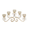 "5 Arm 16"" Crystal Gold Metal Horizontal Table Standing Candelabra Candle Holder"