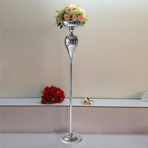 2 Pack | 4.5 Ft Tall Silver Metal Flower Stand Candle Holder
