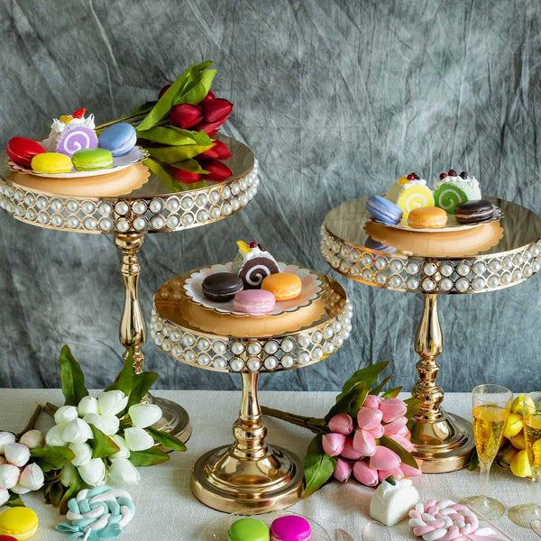 Set of 3 Gold Pearl Embellished Wedding Cake Stand
