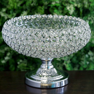 "2 Pack | 9"" Silver Acrylic 300 Crystal Beaded Bowl Pedestal Vase"
