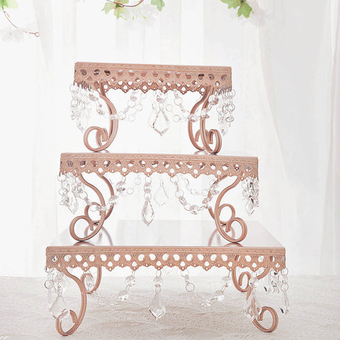 Rose Gold Chandelier Metal Cake Stands, Square Cupcake Stands, Dessert Display With Crystal Pendants