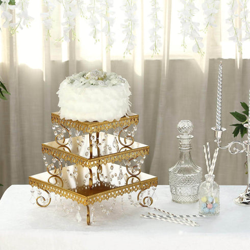 Set of 3 | Gold Chandelier Metal Cake Stands | Square Cupcake Stands | Dessert Display With Crystal Pendants
