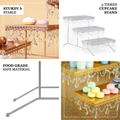 "15"" Tall - White Metal 3 Tiered Cupcake Stand, Cupcake Holder Display Stand With Crystal Pendant"