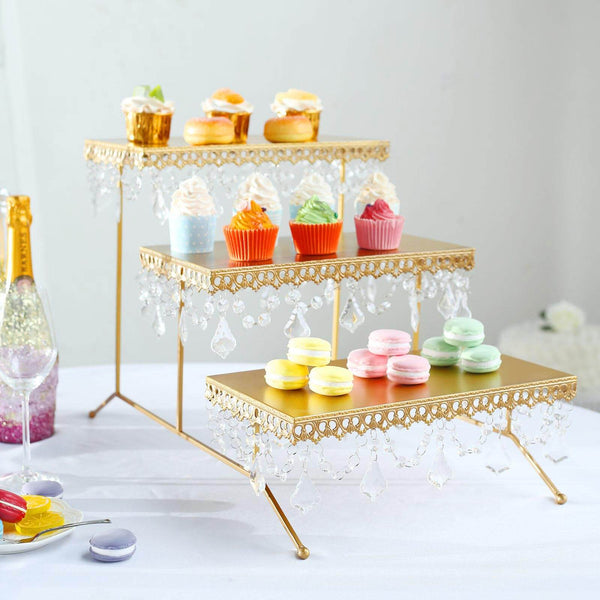 "15"" Tall - Gold Metal 3 Tiered Cupcake Stand, Cupcake Holder Display Stand With Crystal Pendant"