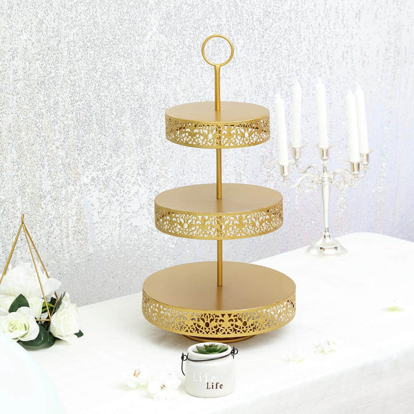 "23"" Gold Metal Reversible Tiered Cupcake Stand, 3 Tier Dessert Stand Cupcake Holder, Display Stand"
