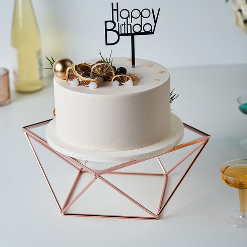 Set of 3 | Rose Gold Metal Geometric Cake Stands with Glass Top