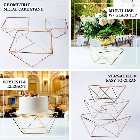 Set of 3 | Metal Geometric Cake Stand Rose Gold Cake Riser with Glass Top